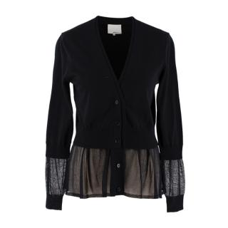 3.1 Phillip Lim Black Wool Sheer Panels Cardigan