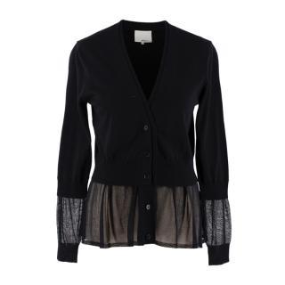 3.1 Phillip Lim Black Wool Sheer Panels Cardigan