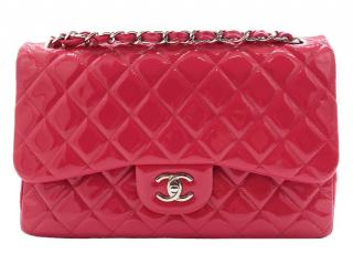 Chanel Pink Patent Leather Jumbo Flap Bag