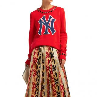 Gucci NY Yankees crystal-embellished wool sweater