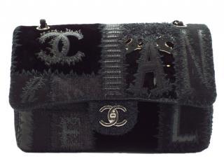 Chanel Black Patchwork Jumbo Double Flap Bag