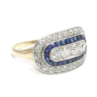 Antique Edwardian 1910 French Cut Sapphire & Fine Diamond Ring