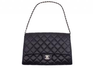 Chanel Black Grained Calfskin Shoulder Bag