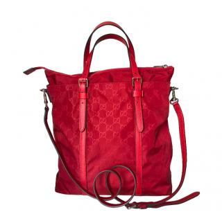 Gucci Red Monogram Nylon Leather Trim Shoulder Bag