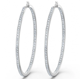 Swarovski Rare Hoop Pierced Earrings, White, Rhodium plated