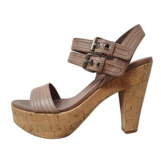 Miu Miu Brown Leather & Cork Sandals