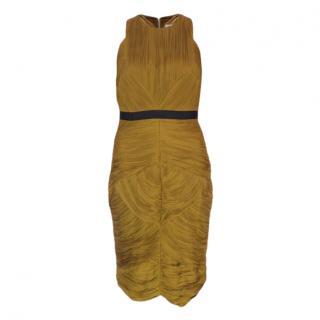 Burberry Olive Pleated Sleeveless Dress
