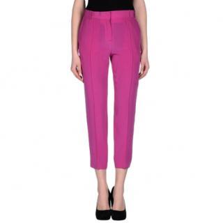 Celine Fuchsia Crepe Crop Pants
