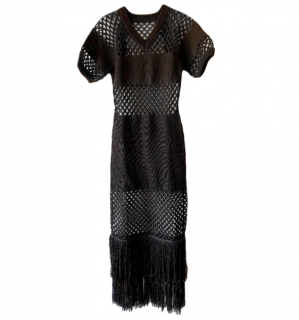 Sonia Rykiel Black Fringed Sheer Maxi Dress