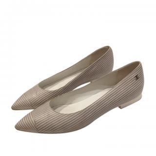 Chanel Striped Ballerina Flats