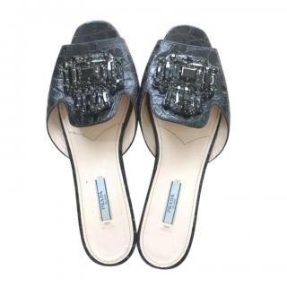 Prada Black Croc Embossed Crystal Embellished Slides