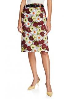 Prada Floral Print Multi Coloured Skirt