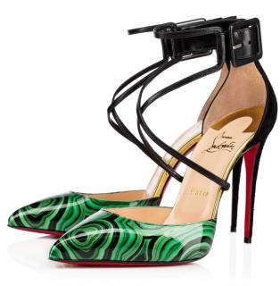 Christian Louboutin Suzanna Patent Malachite 100 Sandals