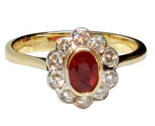 David Simmons custom made ruby and diamond cluster ring