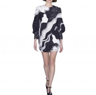 Chloe Long-sleeved cady dress with dream galaxy face print
