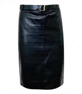 Gucci Black Belted Leather Skirt