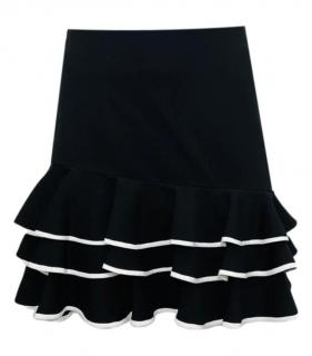 Jonathan Simklhai Black & White Ruffled Mini Skirt