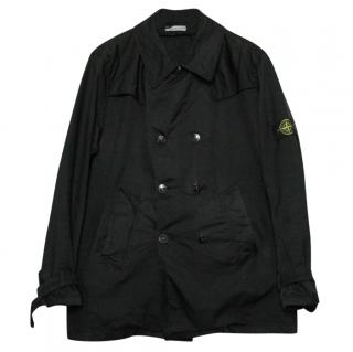 Stone Island Black Double Breasted Peacoat