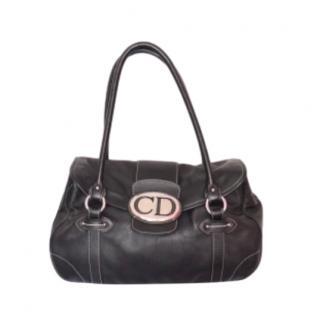 Christian Dior Vintage Black Leather Shoulder Bag