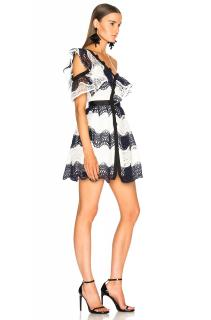 Self Portrait Wave Guipure Frill Blue White Mini Dress