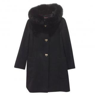 Max Mara Virgin Wool Fox Fur Trim Coat