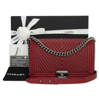 Chanel Red Chevron Leather Boy Bag