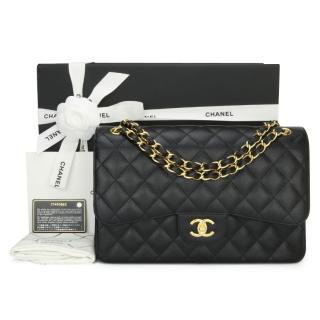 Chanel Black Grained Calfskin Jumbo Double Flap Bag