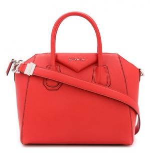 Givenchy Red grained Leather Mini Antigona Bag