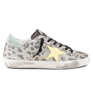 Golden Goose Glitter Leopard Superstar Sneakers