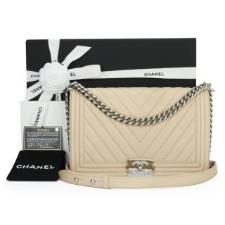 Chanel Nude Leather Chevron Boy Bag