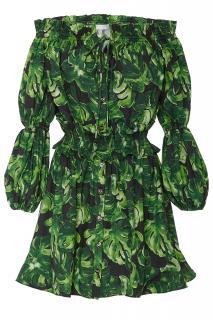 Caroline Constas leaf print ruffled off the shoulder dress