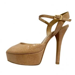 Fendi Beige Lizard Leather Platform Sandals