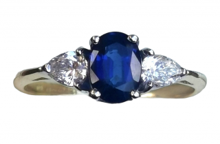 David Simmons 18ct Yellow Gold Sapphire & Diamond Trilogy Ring