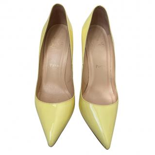 Christian Louboutin Pale Yellow Pigalle 85 Patent Pumps