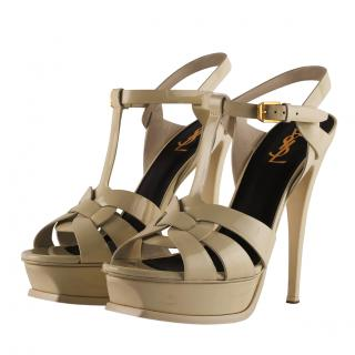 Saint Laurent Beige Patent Tribute 140mm Sandals