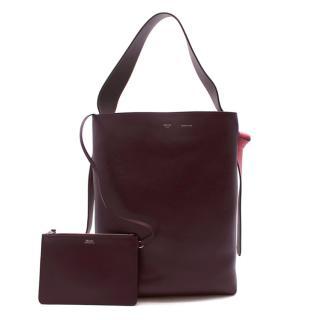 Celine by Phoebe Philo Ivory & Burgundy Twisted Cabas Bag