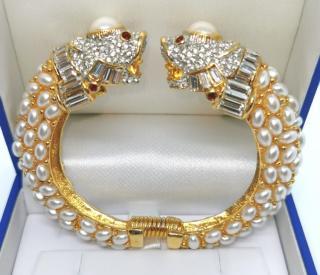 Kenneth Lane Gold Tone Faux Pearl Koi Carp Bracelet