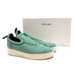 Celine by Phoebe Philo Green Knit Pull-on Trainers