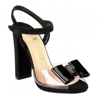 Christian Louboutin One Bow Suede Patent Leather Sandals