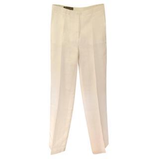 Loro Piana White Linen Tailored Pants
