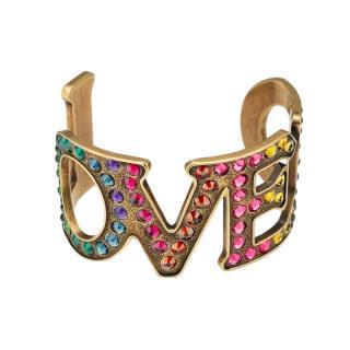 Gucci Multicoloured Crystal LOVED Cuff