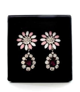 Miu Miu Crystal Drop CLip-On Flower Earrings