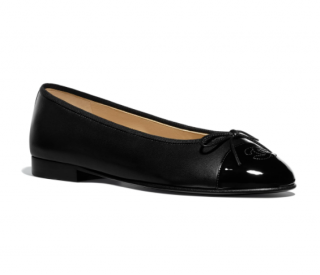 Chanel Black Lambskin Patent Toe Ballerinas