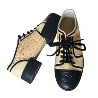 Chanel Leather Trim Raffia Lug Sole Sneakers