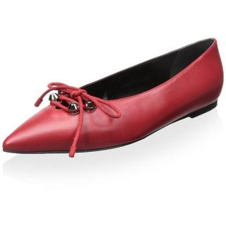 Balenciaga Red Studded Lace-Up Leather Ballerinas