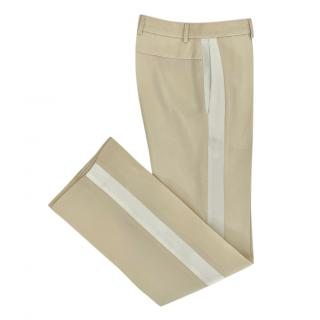 Givenchy Cream Wool Satin Side Stripe Tuxedo Pants