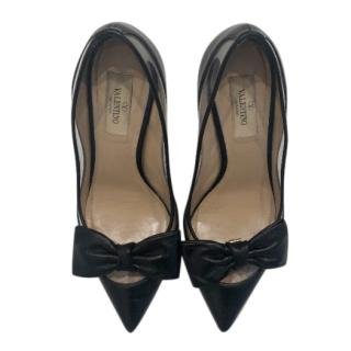 Valentino Black Leather Plexi Dolly Bow Pumps