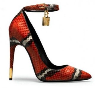 Tom Ford Laminated Python Ankle Wrap Padlock 105mm Pumps