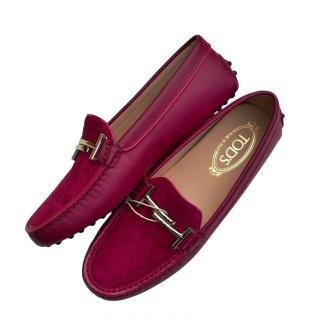 Tod's Fuchsia Suede Doppia Loafers