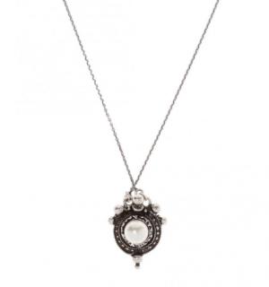 Saint Laurent Faux Pearl Silver Tone Pendant Necklace